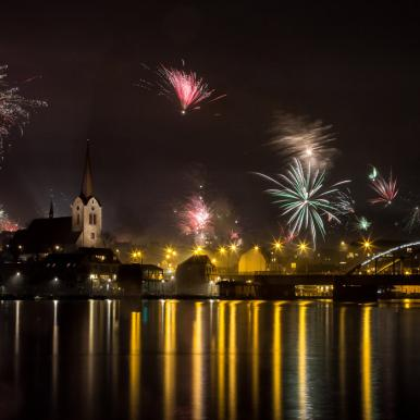 New Year´s Firework over Sønderborg Metropolis on island Als