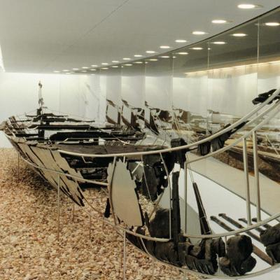 Hjortspring-boat 350 BC is exhibited at National Museum in Copenhagen